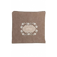 Suede Feel Floral Design Print Tallit / Tefillin Bag in Olive