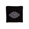 Suede Feel Emblem Design Print Tallit / Tefillin Bag in Black