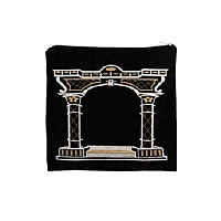 Suede Feel Arch Design Print Tallit / Tefillin Bag in Black