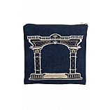 Suede Feel Arch Design Print Tallit / Tefillin Bag in Blue