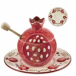 Ceramic Scarlet Garden Honey Pot and Saucer