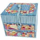 Embroidered Jewelry Box / Jerusalem Blue