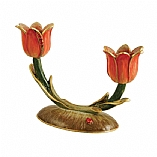 Hand Painted Exquisite Double Tulips Candlestick Holder in Melon and Matte Gold Tones