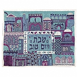 Hand Embroidered Challah Cover / Jerusalem in Blue Design