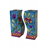 Hand Painted Fitted Wooden Shabbat Candlestick Holders / Floral Design