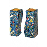 Hand Painted Fitted Wooden Shabbat Candlestick Holders / Birds Designed