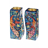 Hand Painted Fitted Wooden Shabbat Candlestick Holders / Peacocks Design