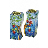 Hand Painted Fitted Wooden Shabbat Candlestick Holders / Seven Species Design