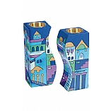 Hand Painted Fitted Wooden Shabbat Candlestick Holders / Jerusalem in Blue Design