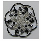 Woman's Elegant Beaded Wire Kippah Callas in Black Design