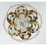 Woman's Elegant Beaded Wire Kippah in Fire and Ice Design