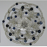 Woman's Elegant Beaded Wire Kippah in Lapis and Silver Design