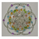 Woman's Elegant Beaded Wire Kippah in Rainbow and Rain Design