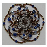 Woman's Elegant Beaded Wire Kippah in the River Design