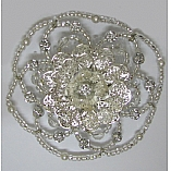 Woman's Elegant Beaded Wire Kippah in Silver Rose Design