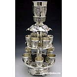 Grapes Design 12 Cups Silver Plated Fountain on Two Tier Base