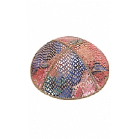 FL-107 Fancy Foil Embossed Leather Kippah