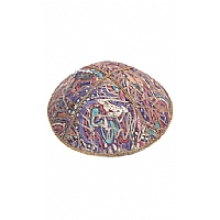 FL-118 Fancy Foil Embossed Leather Kippah