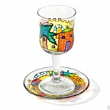 Painted Glass Kiddush Cup and Saucer / Jerusalem Wall  Design