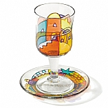 Painted Glass Kiddush Cup and Saucer / Jerusalem Panorama Design
