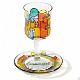 Painted Glass Kiddush Cup and Saucer / Jerusalem View