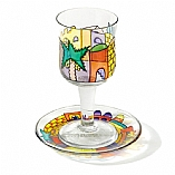Painted Glass Kiddush Cup and Saucer / Seven Species Design