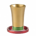Anodized Aluminum Kiddush Cup and Saucer / Gold Red