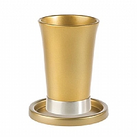 Anodized Aluminum Kiddush Cup and Saucer / Gold