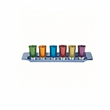 Anodized Aluminum Liquor Cups with Tray in Multicolor / Set of 6