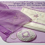 Polyester Sheer Floral Designs in Lilac Tallit Set