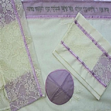 Polyester Sheer in Purple and White Tallit Set