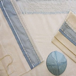 Sheer Light Blue and White Tallit Set