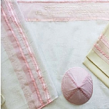 Sheer Pink and White Tallit Set