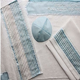 Polyester Sheer in Light Blue and White Tallit Set