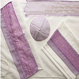 Polyester Sheer Butterfly Design in Purple Shades Tallit Set