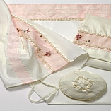 Polyester Sheer Floral Designs in Pink Shades Tallit Set