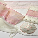 Polyester Sheer Designs in Pink and White Tallit Set