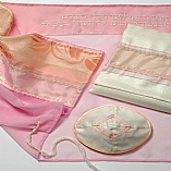 Polyester Sheer Designs in Pink, Peach, and Lavender Tallit Set