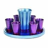 Anodized Aluminum Kiddush Wine Set with Tray / Sea Blue and Lavender