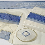 Polyester Sheer Blue Shades Tallit Set