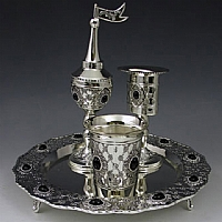 Havdalah Set with Stones Silver Plated