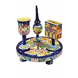 Handpainted Havdalah Set in Oriental Jerusalem Design