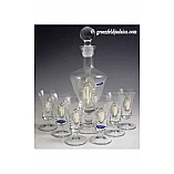 Crystal and Sterling Silver Liquor Set