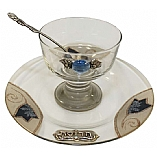 Glass Charoset Dish and Matching Tray in Blue Tulips
