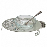 Aluminum Laser Cut Charoset Dish with Glass Insert and Spoon