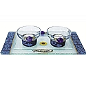 Lily Art Glass Appliqued Blue Tea Light Candle Holders And Tray