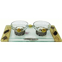 Lily Art Glass Appliqued Brown Tea Light Candle Holders And Tray