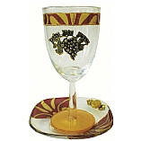 Lily Art Glass Appliqu�d Kiddush Cup with Coaster in Burgundy