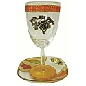 Lily Art Glass Appliqued Kiddush Cup with Coaster - Colored Tulips