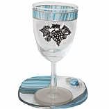 Lily Art Appliqued Kiddush Cup with Coaster in Ocean Blue
